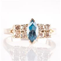 14k Yellow Gold Marquise Cut London Blue Topaz & Brown Diamond Ring .90ctw
