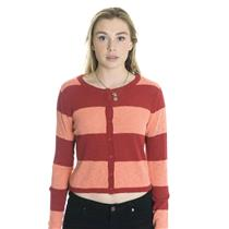 L NWT Pieces by Kensie Button Front Striped Cardigan Sweater in Cherry Combo