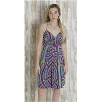 Sz M Nicole Miller Studio Empire Waist Mini Dress Purple/Teal Retro Mod Pattern