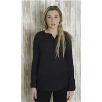 S OXMO Black Viscose Semi-Sheer Crepe Blouse Button Front Sequin Shoulder Top