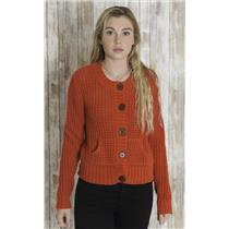 M Moda International Orange-Red Thick Acrylic Knit Button Front Cardigan Sweater