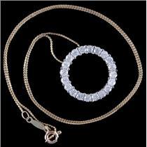"14k Yellow Gold Round Cut Diamond Eternity Pendant W/ 18"" Chain 2.0ctw"