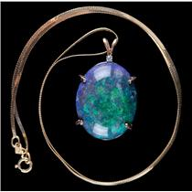 "14k Yellow Gold Oval Cut Opal & Diamond Solitaire Pendant W/ 16"" Chain 12.62ctw"