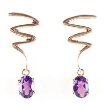 "14k Yellow Gold Oval Cut ""AA"" Amethyst Solitaire Zigzag Dangle Earrings 1.70ctw"