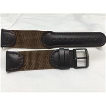 Wenger Watch Band 20mm Brown Leather/Nylon Mesh.Military style.Mod# 72901 w/Pins