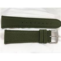 Wenger Watch Band 22mm Kahki Fabric/Leather. Military Style Back Plate # 0341.10