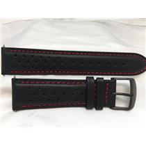 Wenger Watch Band 22mm Black Perforated Leather W/Red Stitching Bk PL # 0851-12