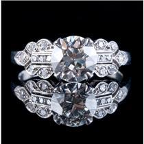 Vintage 1920's Platinum Diamond Solitaire Engagement Ring W/ Accents 1.83ctw
