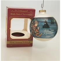 Goebel Hummel Glass Ball Ornament 1983 Ride Into Christmas - #156-6446-DB