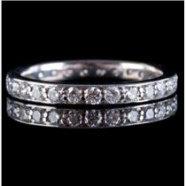 18k White Gold Round Cut Diamond Eternity Wedding / Anniversary Band .81ctw