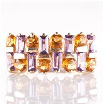 10k Yellow Gold Baguette Cut Amethyst & Round Cut Citrine Cocktail Ring 1.76ctw