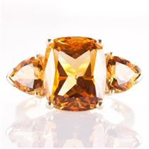 14k Yellow Gold Antique Cushion & Trillion Cut Citrine Three-Stone Ring 6.45ctw