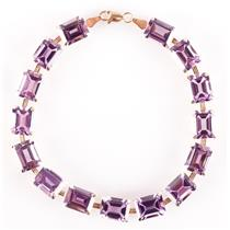 10k Yellow Gold Emerald Cut Amethyst Tennis Bracelet 33.75ctw 9.43g