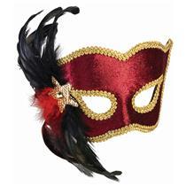 Karneval Style Female Red Burgundy Half Venetian Mask