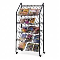 SAFCO Mobile Literature Rack, Charcoal, 4129CH