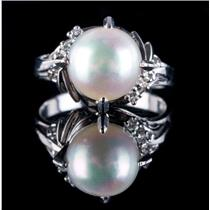 Vintage 1930s Platinum Cultured Freshwater Pearl & Diamond Solitaire Ring .08ctw