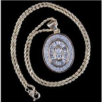 "14k Yellow / White Gold Round & Baguette Cut Diamond Pendant W/ 15"" Chain 1.2ctw"