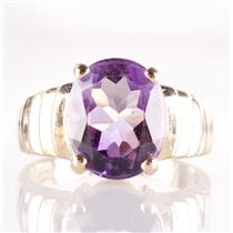 14k Yellow Gold Oval Cut Amethyst Solitaire Step Style Ring 4.40ct