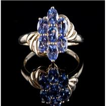 10k Yellow Gold Oval Cut Tanzanite Cluster Ring 1.48ctw 2.3g