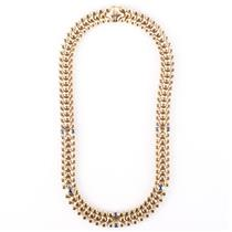 "18k Yellow Gold Round & Oval Cut Sapphire ""Nanis"" Italian Collar Necklace 3.0ctw"