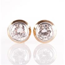 14k Two-Tone Gold Round Cut Diamond Solitaire Bezel Set Stud Earrings .76ctw