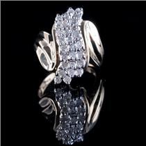 10k Yellow Gold Round Cut Diamond Cluster Cocktail Ring 1.16ctw