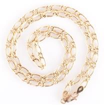 """18k Yellow Gold Classic Large Link Figaro Chain 18"""" Length 3.2g"""