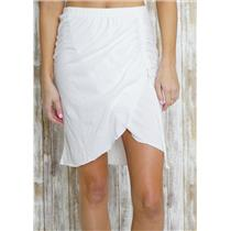 sz 0/XS Michael Stars White Tissue Jersey Drawstring Ruched Mini Skirt White
