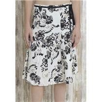M Jonathan Martin Studio Black/White Floral A-Line Skirt Knee Length Ribbon Tie