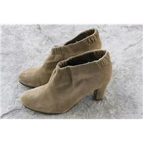 8.5 Sam Edelman Tan Putty Suede Block Heel Elastic Ruched Ankle Round Toe Bootie