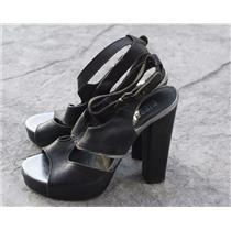 Sz 38 Diesel Black Leather Platform Block Heel Buckle Closure Open Toe Sandal