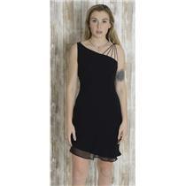 6 Jones Wear Vintage Black Asymmetrical Strappy Shift Dress Ruffle Chiffon Silk