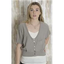 M/L MK2K Gray Cap Sleeve Crop Button Front Banded Waist Pocket Cardigan Sweater