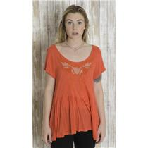 L Free People Orange Cap Sleeve Slub Knit Babydoll Peplum Top w/Mesh Panels