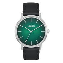 Nixon Men's Porter Leather Watch Green Ombre / Black 40mm