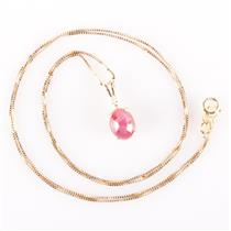 "14k Yellow Gold Oval Cabochon Cut Ruby & Diamond Pendant W/ 18"" Chain 1.80ctw"