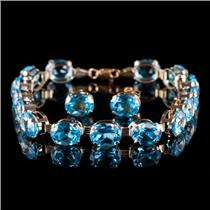 10k Yellow Gold Oval Cut Swiss Blue Topaz Bracelet / Earring Set 40.8ctw