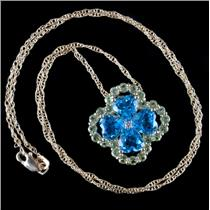 10k Yellow Gold Swiss Blue Topaz / Peridot / Diamond Clover Necklace 8.32ctw