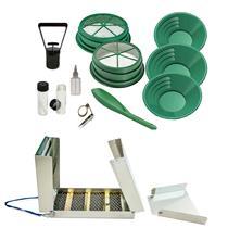 "50"" Long Folding Sluice Box + 11pc Gold Mining Kit -3pans-2screens+Magnet + MORE"