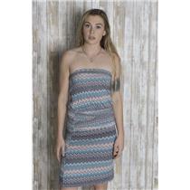 XS Hourglass Lilly Anthropologie Jersey Strapless Dress Tribal Zig Zag Pattern