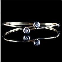 18k Yellow & White Gold Round Cut Diamond Bypass Hinged Bangle Bracelet .40ctw