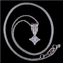 "14k White Gold Princess Cut Invisible Set Diamond Pendant W/ 18"" Chain .80ctw"