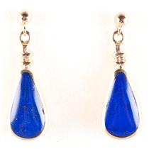 9k Yellow Gold Pear Cabochon Cut Lapis Lazuli Solitaire Dangle Earrings 5.2g