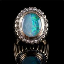 14k Yellow Gold Oval Cabochon Cut Triplet Opal & Diamond Cocktail Ring .25ctw
