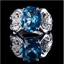 10k Yellow Gold Oval Cut London Blue Topaz Solitaire Ring W/ Diamonds 2.94ctw