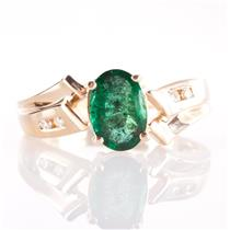 14k Yellow Gold Oval Cut Emerald Solitaire Ring W/ Diamond Accents .82ctw
