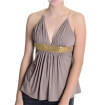 XS NWT Sky Brand Begonia Top SOFT Taupe Jersey Grecian Gold Chain Empire Waist
