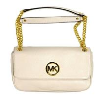 NWT Michael Kors Fulton Small Leather Shoulder Flap Bag w/Gold Chain in Vanilla
