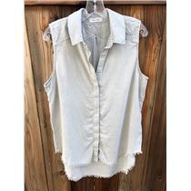 L Bella Dahl Tan Raw Hem Sleeveless Button Down Shirt 100% Tercel B2313-654-303