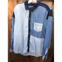 L Rails 'Zoey' Colorblock Denim Classic Button Down Collared Shirt Linen Blend